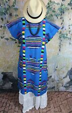Blue & Multi-Color Hand Woven & Embroidered Chinantec Huipil Oaxaca Mexico Boho