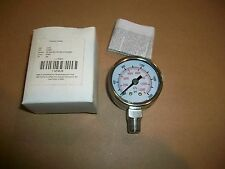 "Grainger 4FMJ9  2000psi Pressure Gauge 1/4"" NPT Stainless  1.5"" Diameter  NEW"