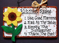 White Sign SUNFLOWER KITCHEN RULES Wall Country Wood Crafts Southwest Plaque