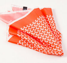 New $215 KITON NAPOLI Orange-White Geometric Wave Print Silk Pocket Square