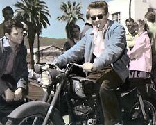 "JAMES DEAN RIDING A PUCH SGS 250 MOTORCYCLE ACTOR 8x10"" HAND COLOR TINTED PHOTO"
