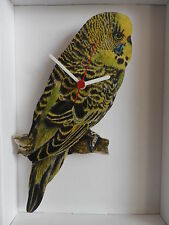 GREEN BUDGIE WALL CLOCK. NEW AND BOXED.BUDGERIGAR