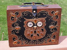 Enid Collins Night Owl Wood Box Purse 963  Signed Box Bag All Original Owl Purse