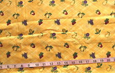1 1/2 yds Cotton Fabric Debbie Mumm, Yellow Diagonal Plaid w/Fruit