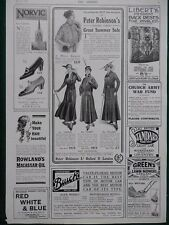 1915 ADVERTS FASHION LIBERTY'S NORVIC SHOES HAIR OIL OXFORD STREET BUICK WW1 WWI