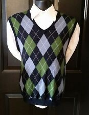 Brooks Brothers Argyle Sweater Vest Golf V-Neck Merino Wool Navy Blue Mens Large