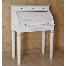 International Caravan Carved Wood Roll Top Desk traditional in White