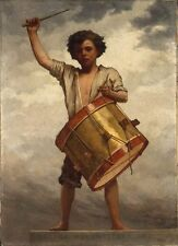 Classical Oil painting The Drummer Boy handsome young people playing drum canvas