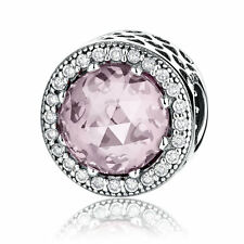 Pink Crystal Charm Beads .925 Sterling Silver Charm for European Charm Bracelet