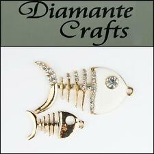 3D Fish 2 pieces Gold Alloy Clear Diamantes White Enamel DIY Case Deco 3FS2013