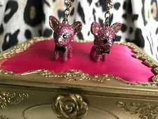 Betsey Johnson Vintage Critter Boost Pink Glitter Chihuahua Bow Tie Dog Earrings