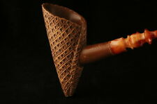 Ice Cream Cone Hand Carved Block Meerschaum Pipe in a fitted CASE 7671