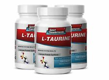 L-Taurine 500mg. Healthy Nervous System (3 Bottles) Free Shipping