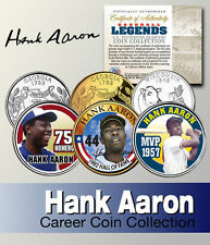 HANK AARON SIGNATURE BRAVES WISCONSIN & GEORGIA STATEHOOD QUARTER 3 COIN SET!