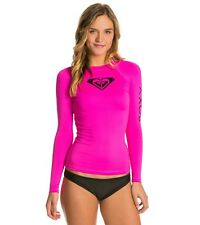 ROXY WHOLE HEARTED PINK RASHGUARD SUN SURF SWIMWEAR LONG SLEEVE NEW SIZE XS