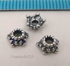 8x OXIDIZED STERLING SILVER STAR ROPE DAISY BEAD CAP 5.2mm N720