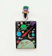 AMAZING GALACTIC SCENE ARTISAN TURQUOISE/MULTICOLOR INLAY .925 SILVER PENDANT
