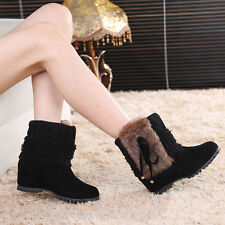 UK Women's Faux Suede Fur Booties Wedge Platform Fringe Ankle Boots Chunky Shoes