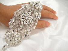 Gorgeous Beaded Bridal Applique Diamante Motif Rhinestone Pearl Wedding Applique