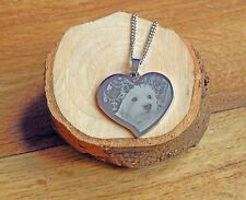 Personalised Photo & Text Engraved Flared Heart Pendant Necklace Mothers DayGift