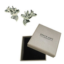 Mens Silver Stag Animal Deer Cufflinks & Gift Box By Onyx Art