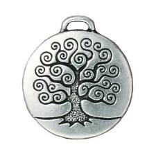 Fine Silver Plated Pewter Round Tree Of Life Pendant 27mm (1)