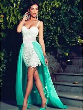 New white lace & green train evening prom cocktail party dress Size M UK 10