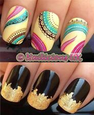 NAIL ART SET #238. ETHNIC PATTERN WATER TRANSFERS/DECALS/STICKERS & GOLD LEAF