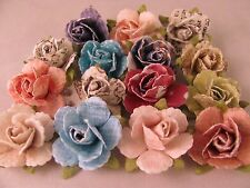 Set of (15) Rose Lapel Pin Flowers Boutonniere Assorted Light Colors & Patterns