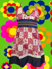197✪ Country Patchwork Neckholder Hippie Mini Kleid dress Boho Blumen Jeans Sara