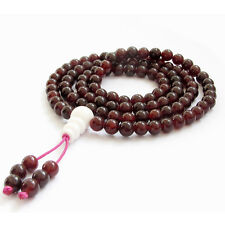 Red Garnet Tibet Buddhist 108 Prayer Beads Mala Necklace