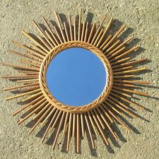 Vintage French Mirror, Sunburst, Starburst, Rattan, 1960's