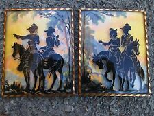 PAIR VINTAGE SILHOUETTES CONVEX GLASS COWGIRL COWBOY RIDERS HORSES REVERSE PAINT
