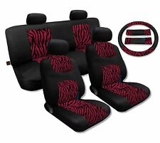 Fuschia Zebra Print Accent on Mesh Knit  Seat Covers Red Pink Stripes