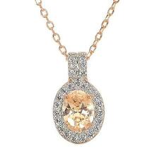 1.65ct TW Champagne & White CZ Necklace in Sterling Silver 14k Rose GP Necklace
