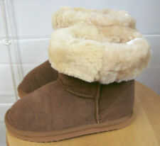 Genuine Suede Leather Shearling Fleece Short Boots Tan Brown Sz 6 NEW