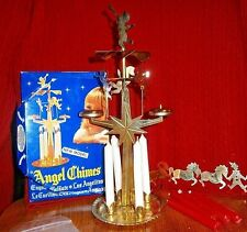 Vtg Swedish Angel Birthday Party chimes brass carousel pony clown + new candles
