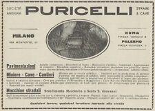 Z1900 Macchine Stradali PURICELLI - Pubblicità d'epoca - 1921 Old advertising