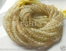 """Full 13"""" strand LEMON SMOKY QUARTZ faceted gem stone rondelle beads 4mm - 4.5mm"""
