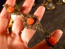 VICTORIAN CORAL NECKLACE DETAILED ROSES prety Filigree ~