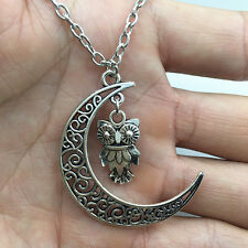 silver owl leaf pendant alloy necklace women girl necklace friend gift #