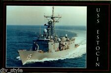 USS Estocin FFG-15 Guided Missile Frigate postcard US Navy warship