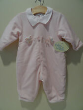 NWT Catimini 6 M Baby Girl Velour One Piece Romper Outfit Premiers Jours Rose