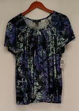 Style & Co. Plus Size Top 1X Printed Peasant Short Sleeve Blue NEW