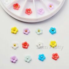 1Box 8mm Colorful Flower Nail Studs 3D Nail Art Decoration For UV Gel Manicure