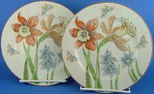 Fitz Floyd 2 Salad Plates Daffodils Butterflies Jonquil