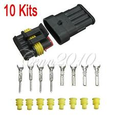 10 Kits Car Auto 4 Pin Way Sealed Waterproof Electrical Wire Connector Plug Set