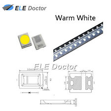 100PCS SMD SMT 2835 LED Diodes Warm White Light 0.8 Thick PLCC-2 High Quality