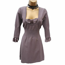 KAREN MILLEN TAUPE KNITTED & SILK CASUAL SMART PARTY BOW JUMPER DRESS KM 3/UK 12