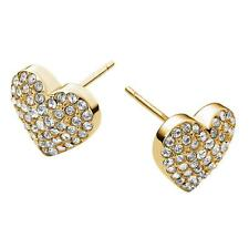 New Michael Kors Goldtone Clear Heart Pave Crystal Stud Earrings MKJ3025710 $75